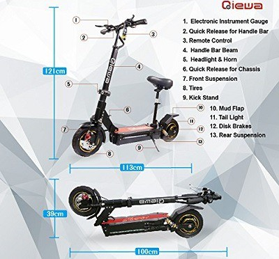 Qiewa Q1Hummer 800W & Q-Mini Electric Scooter & Parts Review
