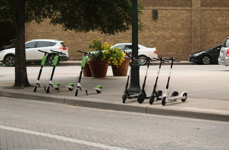 Electric Scooters on the Sidewalk